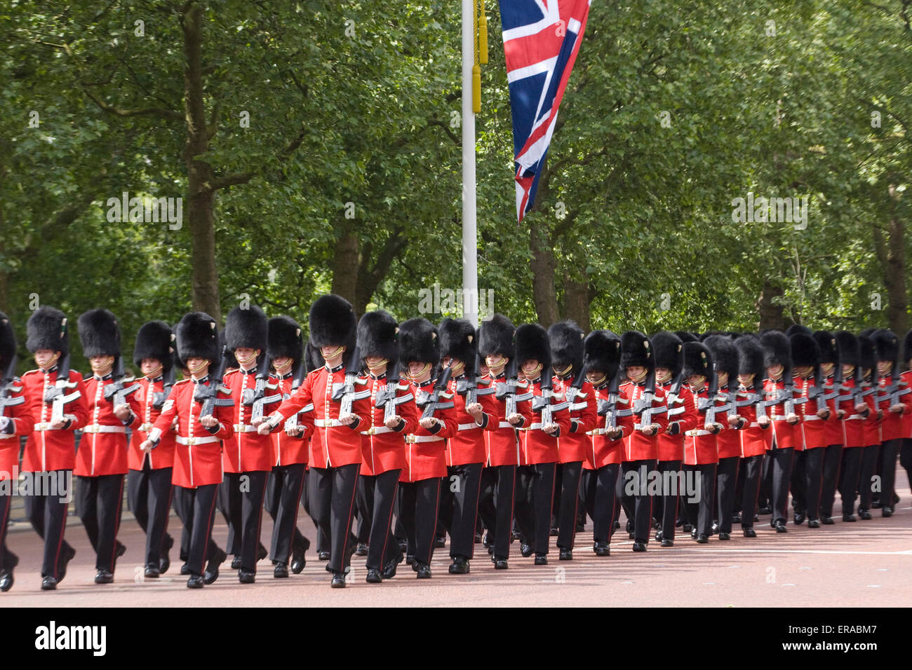 Guardsmen marching down the mall for the Trooping the Colour in celebration of the Queens Birthday in London - Stock Image