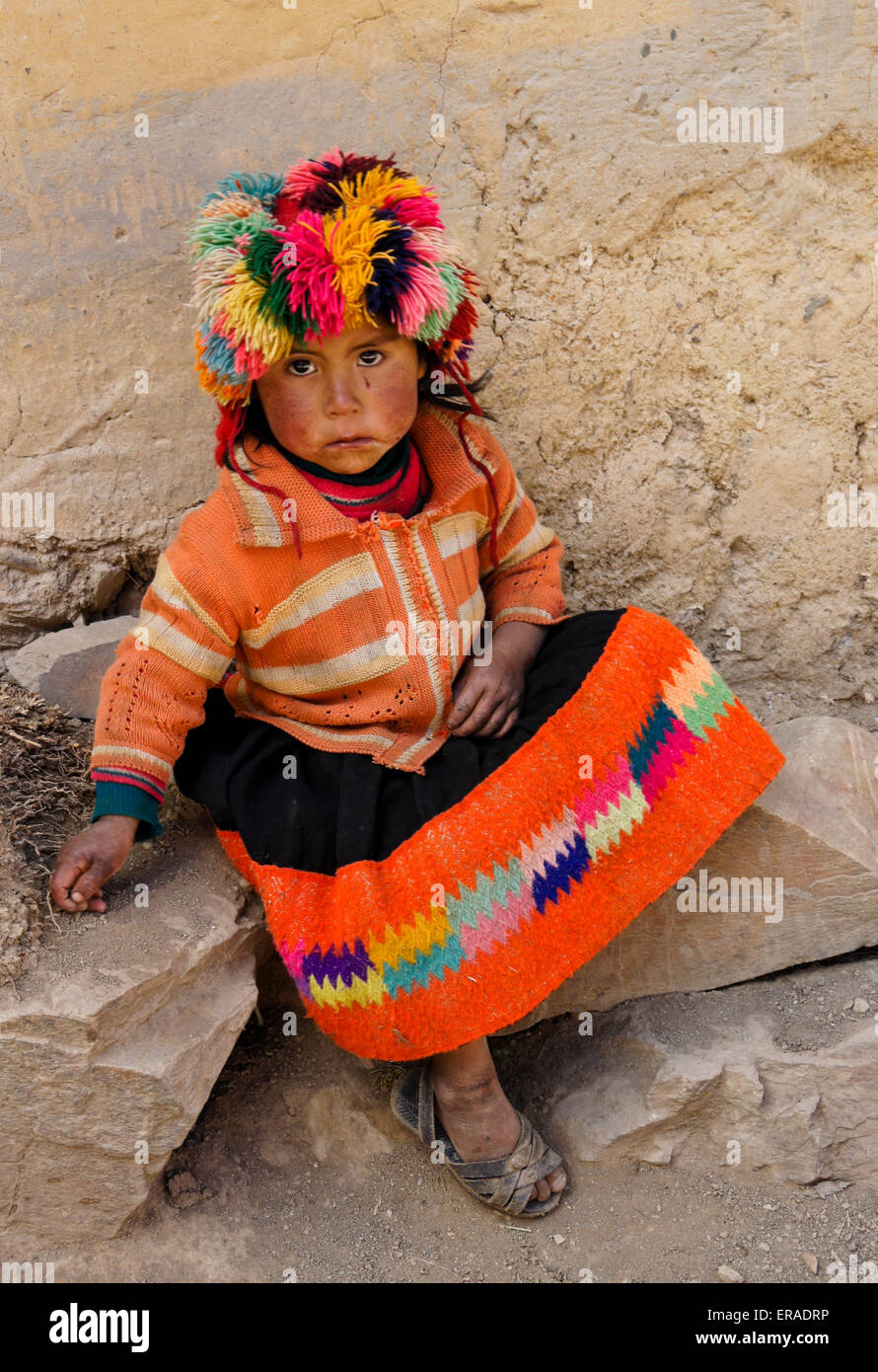 Quechua Indian girl, Willoq, Peru - Stock Image