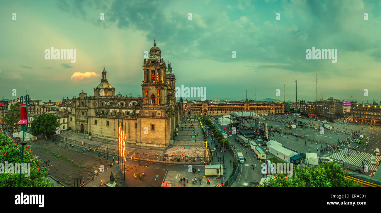 Zocalo square and Metropolitan cathedral of Mexico city - Stock Image