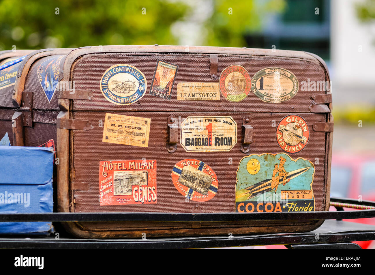 Old trunk with stickers from European holiday destinations. Stock Photo