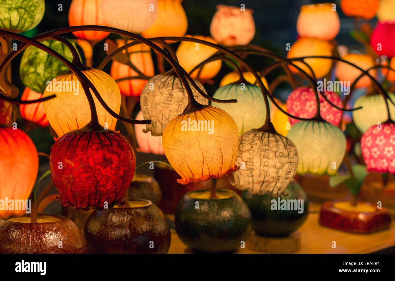 Table lamps on display in Seoul, South Korea - Stock Image