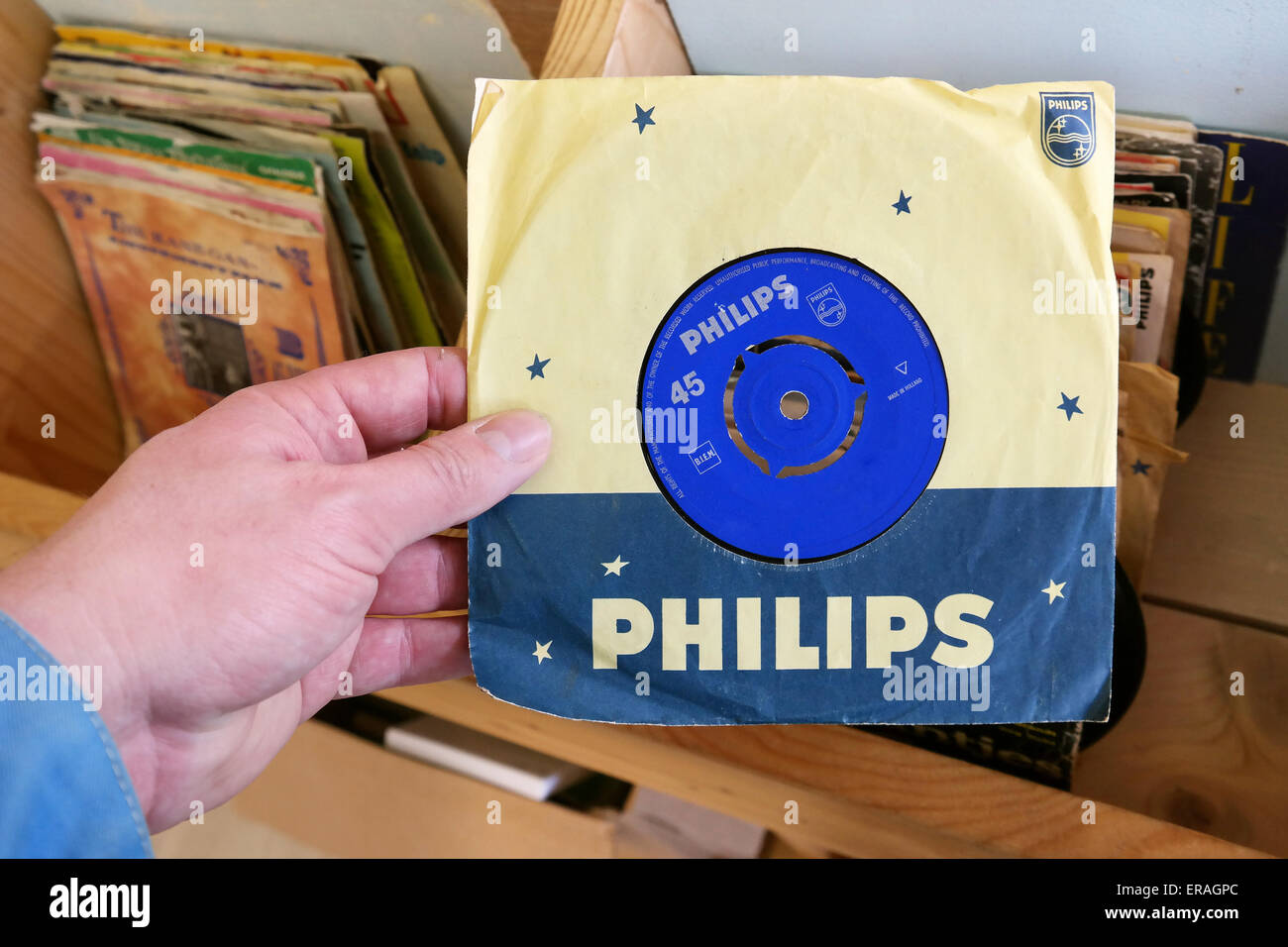 THE NETHERLANDS - MARCH 2015: Philips 45 rpm single record found in a second hand store. Philips Records is a record Stock Photo