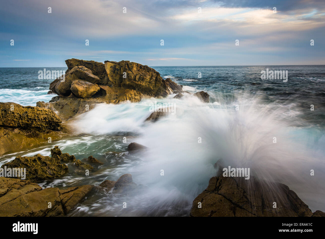 Rocks and waves in the Pacific Ocean at Monument Point, Heisler Park, Laguna Beach, California. Stock Photo