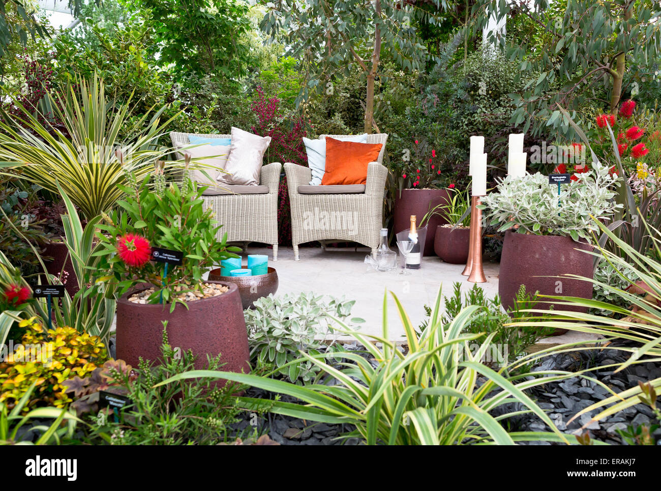 garden furniture display at the great pavillon at the rhs chelsea