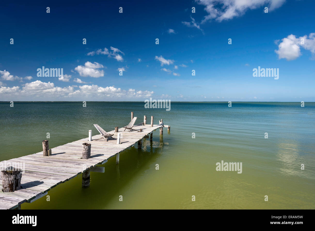 Boardwalk at Corozal Bay seashore, Caribbean Sea coast, Cerros Beach Resort, Cerros Peninsula, Corozal District, - Stock Image