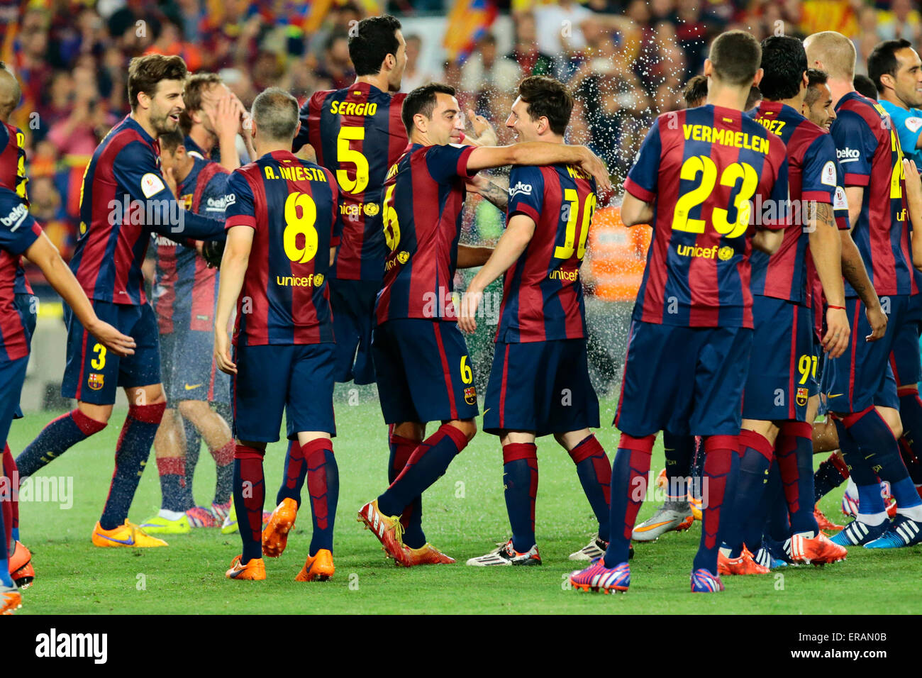 (150531) --BARCELONA, May 31, 2015 (Xinhua) -- Players of Barcelona celebrate after winning the Copa del Rey (King's - Stock Image