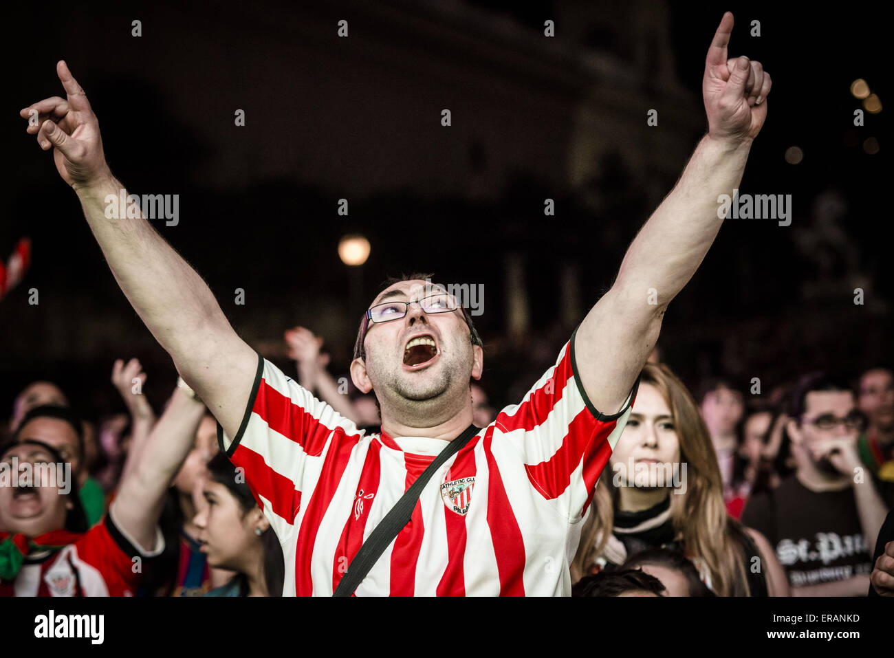 Barcelona, Catalonia, Spain. 30th May, 2015. An Athletic Bilbao supporter celebrates a goal of his team during the - Stock Image