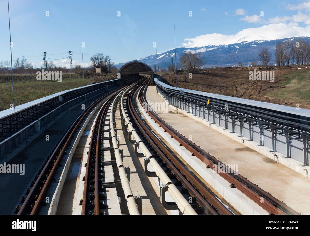 Subway train platform. Train's point of view. - Stock Image