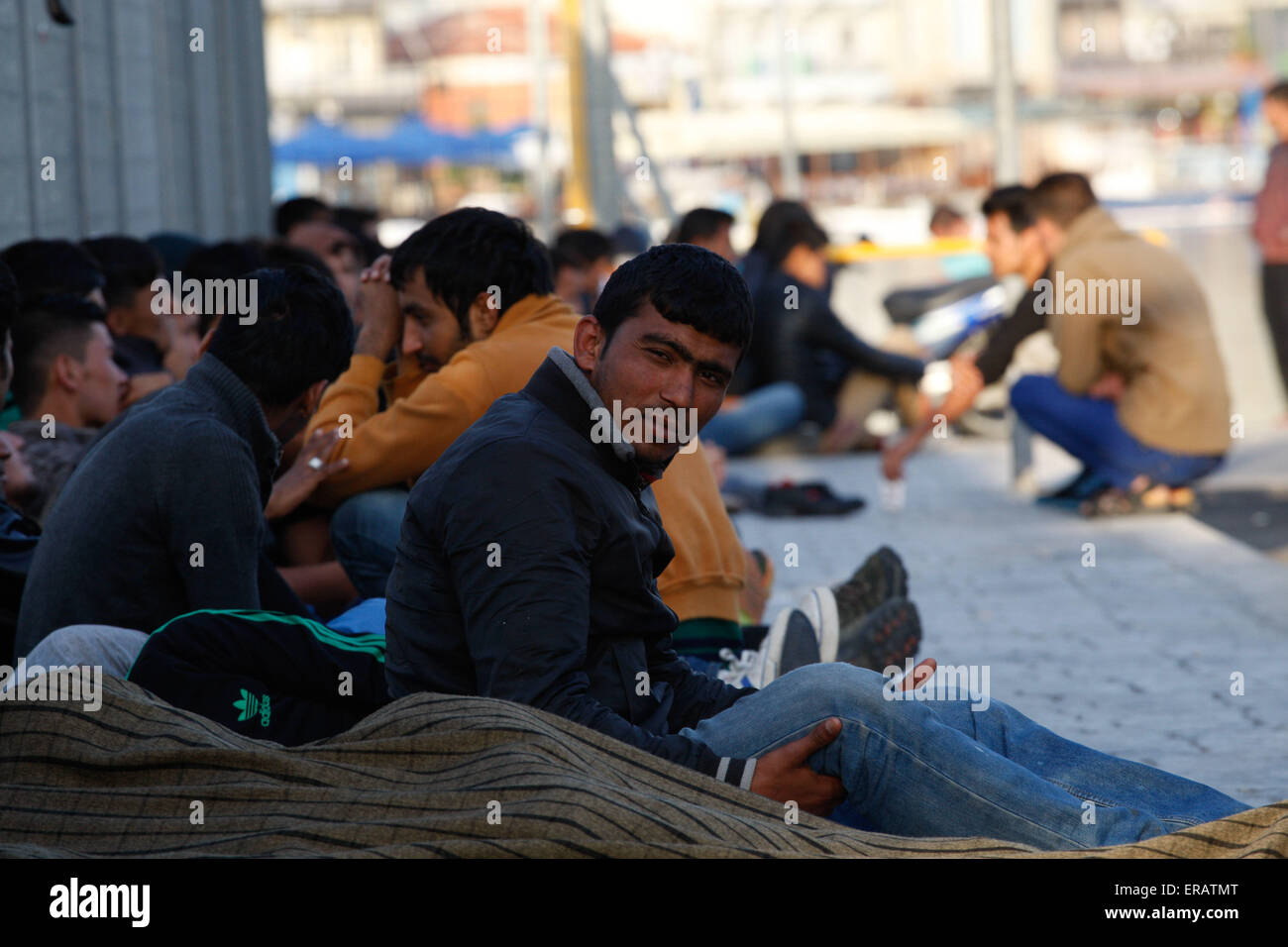 Hundrends migrants arrived  every day in the eastern Aegean island of Lesvos from the Turkish coast. Among them, - Stock Image