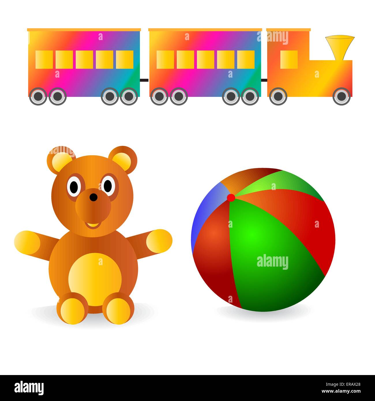 Children's toys-ball, bear and locomotive - Stock Image