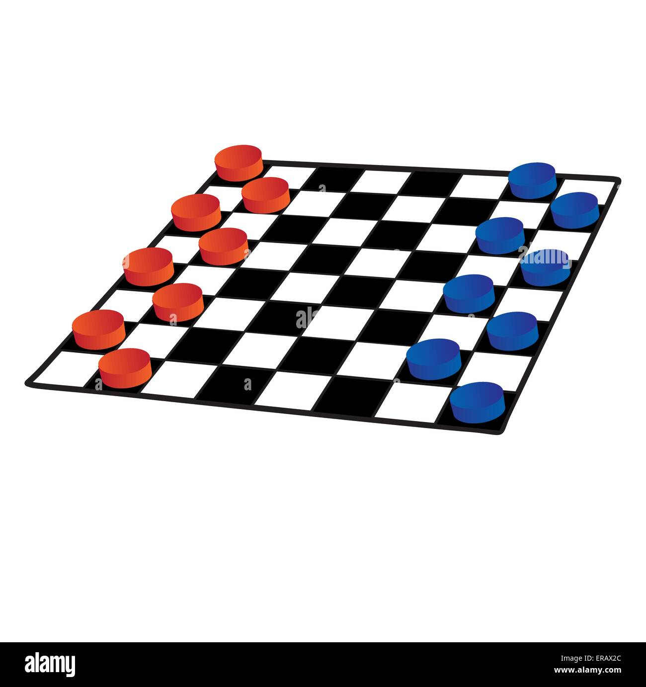Checkers on a white background isolated Stock Vector
