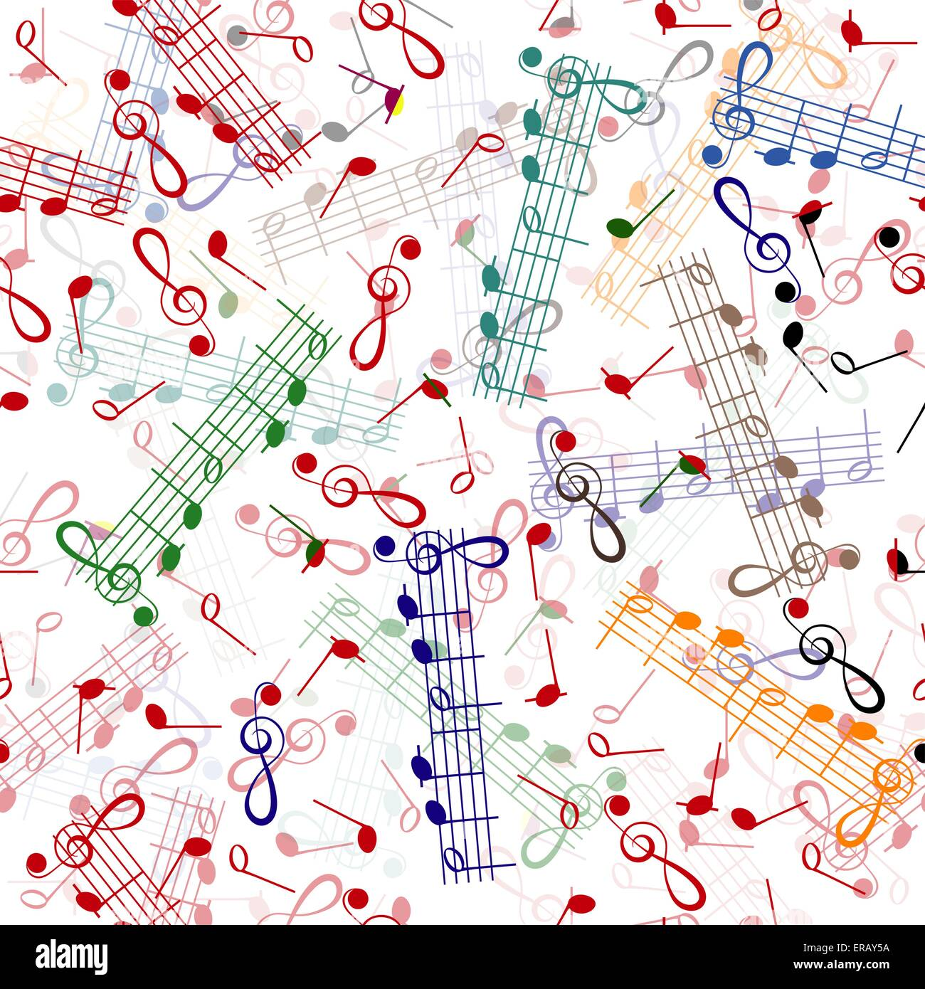 music notation repeating pattern on a white background - Stock Image
