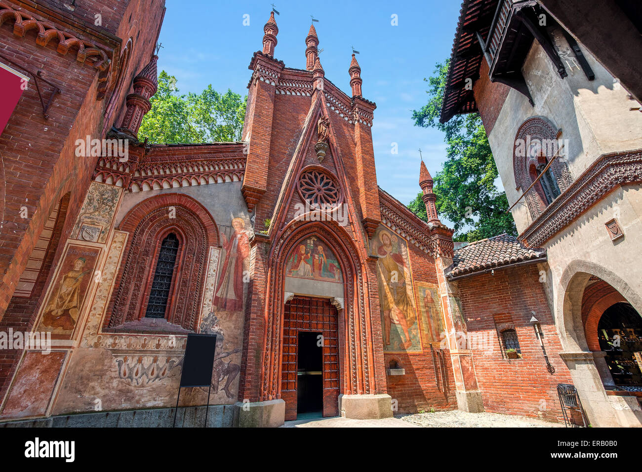 Small red brick church in Parco del Valentino in Turin, Northern Italy. - Stock Image