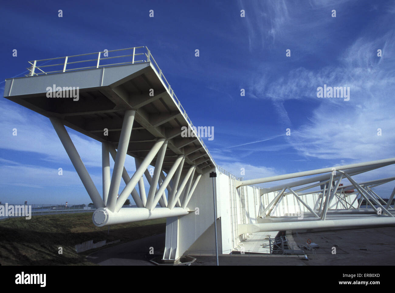 NLD, Netherlands, Deltaproject, swivelling flood protection plant at the Nieuwe Waterweg west of Rotterdam.  NLD, - Stock Image