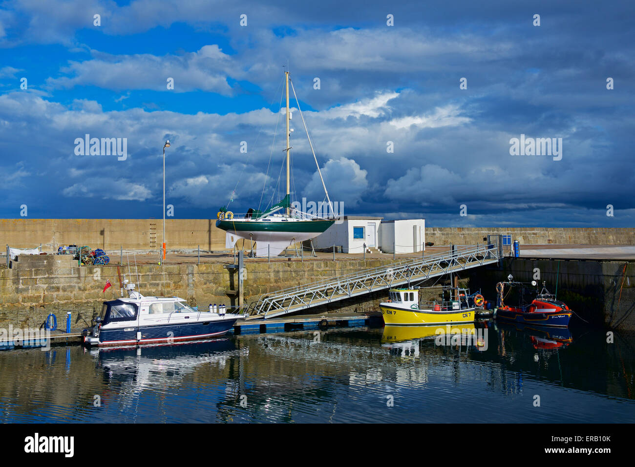 Boats in the harbour, Lossiemouth, Moray, Scotland - Stock Image
