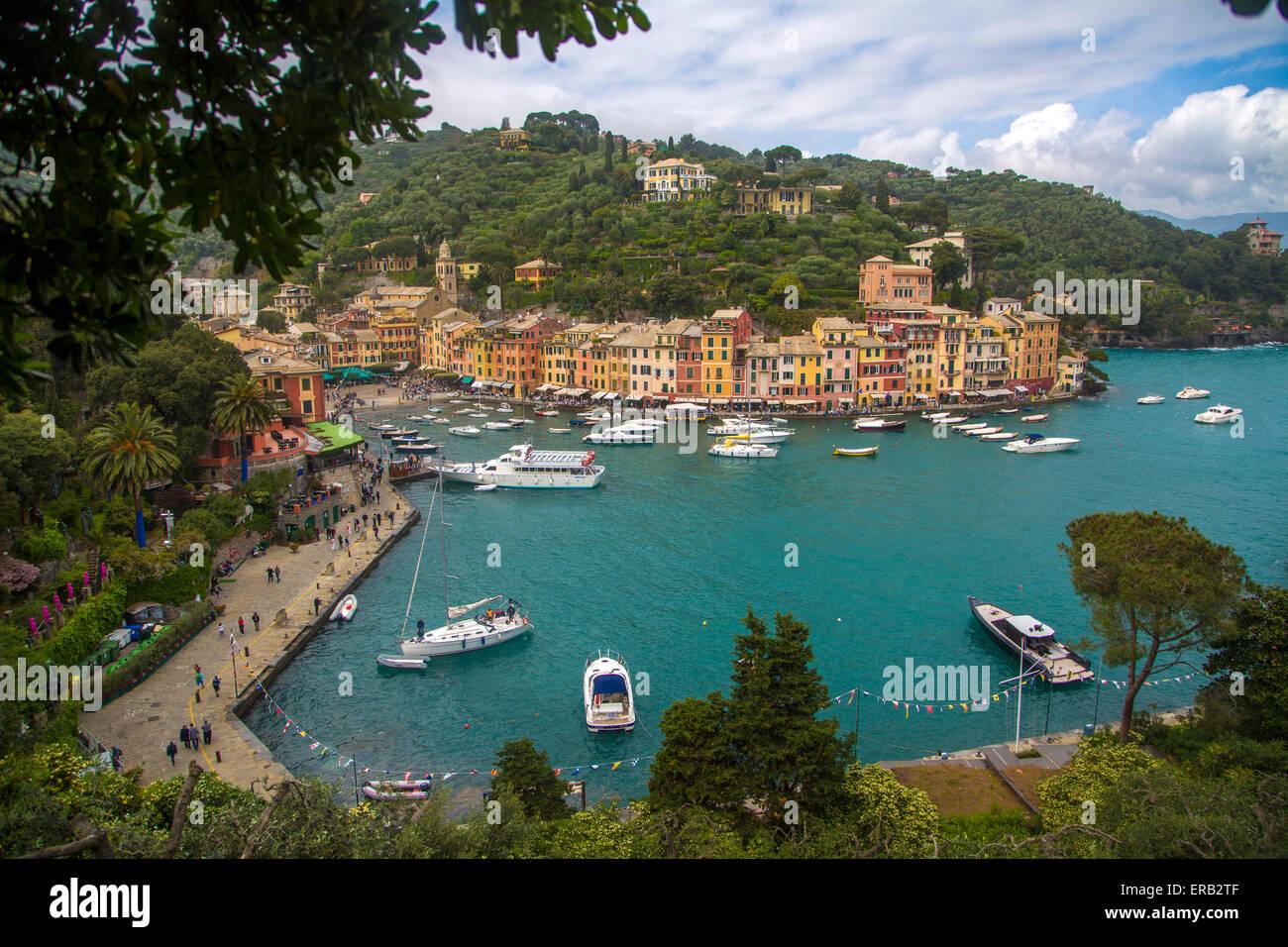 View at port in Portofino, Italy. - Stock Image