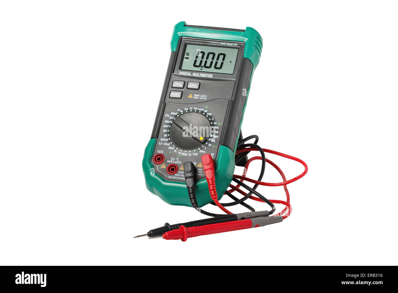 Digital multimeter with probes isolated on white - Stock Image