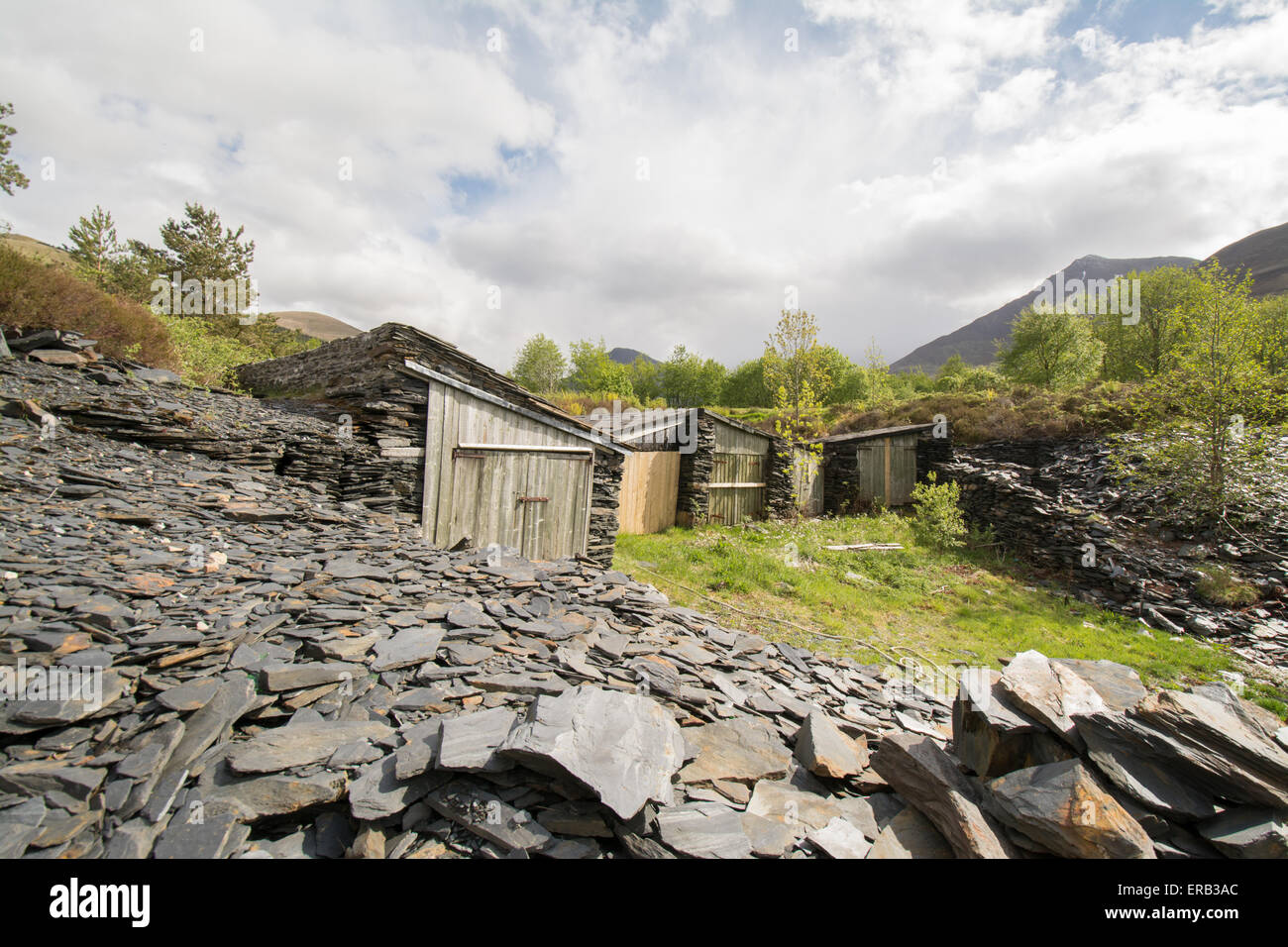 Old slate worker's boatsheds at Ballachulish on the shores of Loch Leven - Stock Image