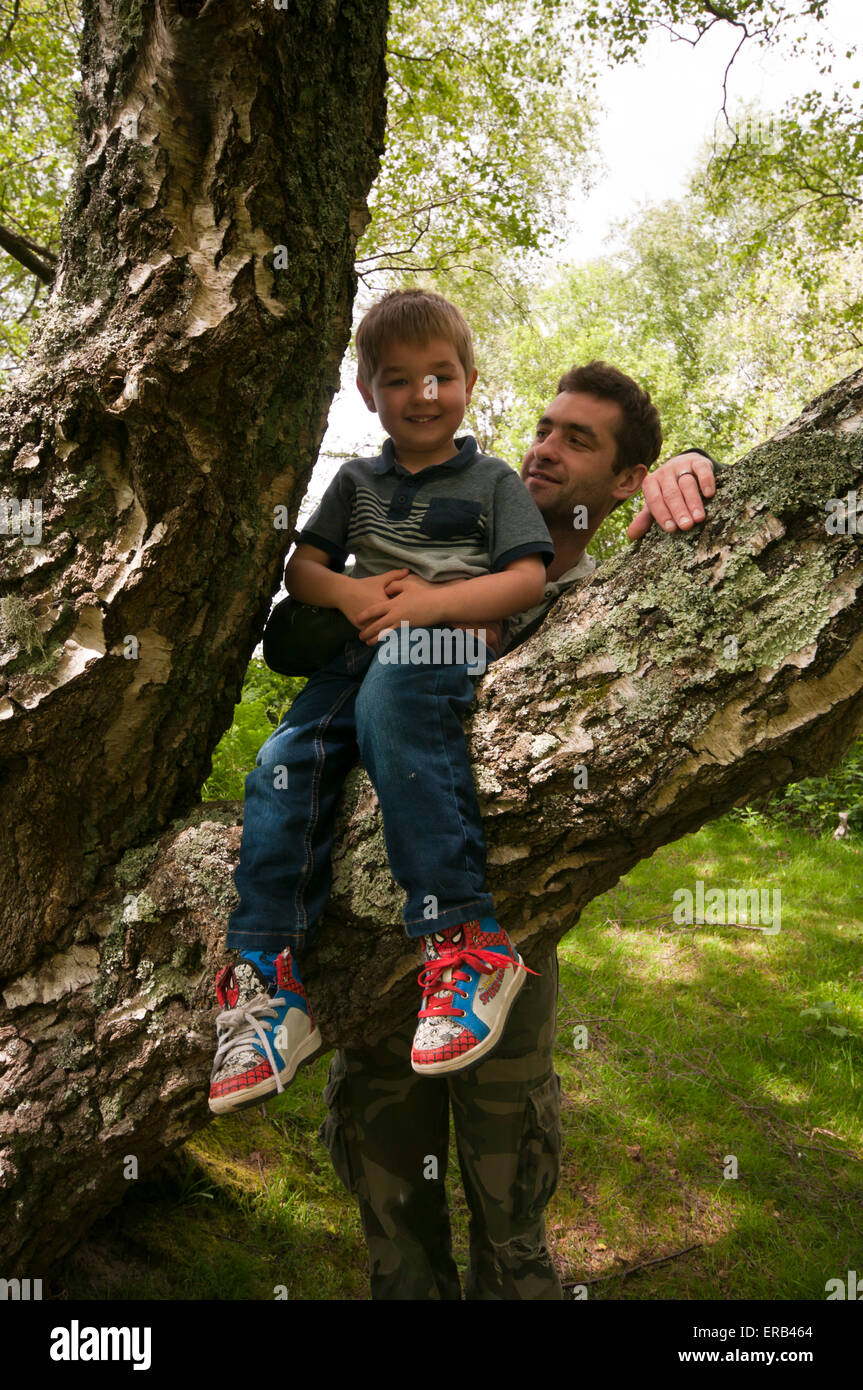 Single Parent Family Father and Son Outdoors together - Stock Image