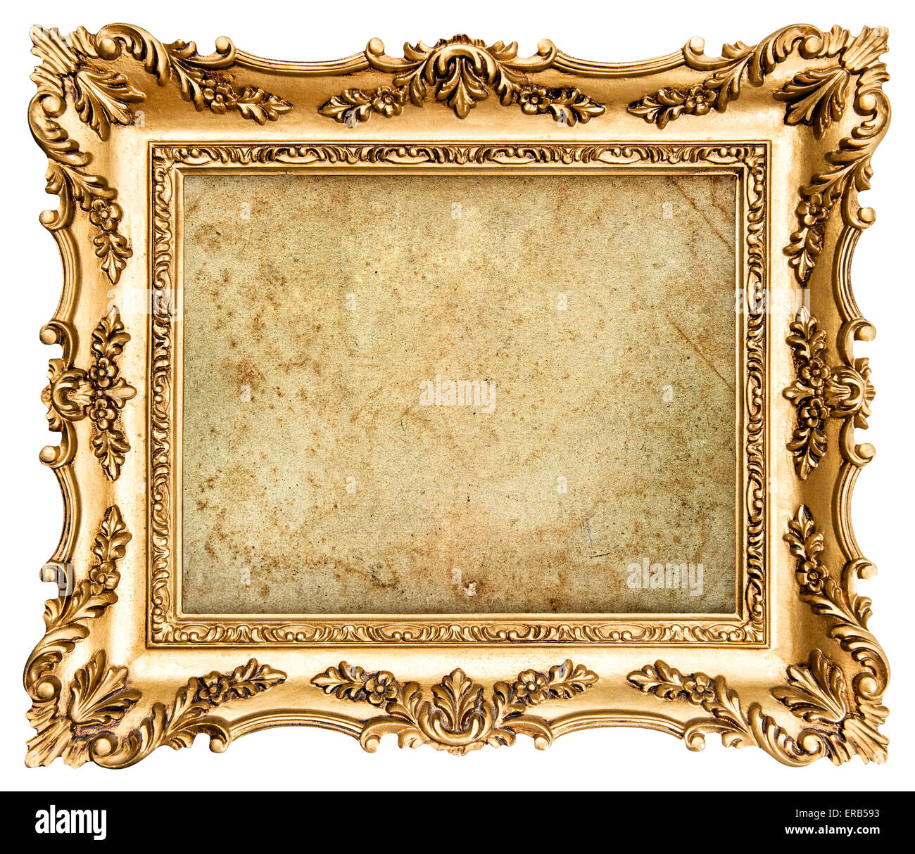 Baroque style golden picture frame isolated on white background with ...