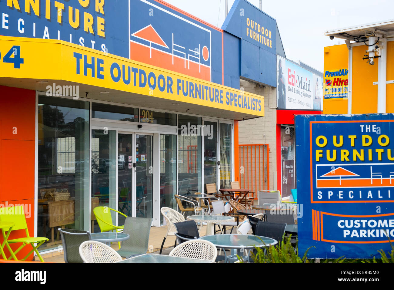 Outdoor furniture specialists store in brookvalesydneyaustralia stock image