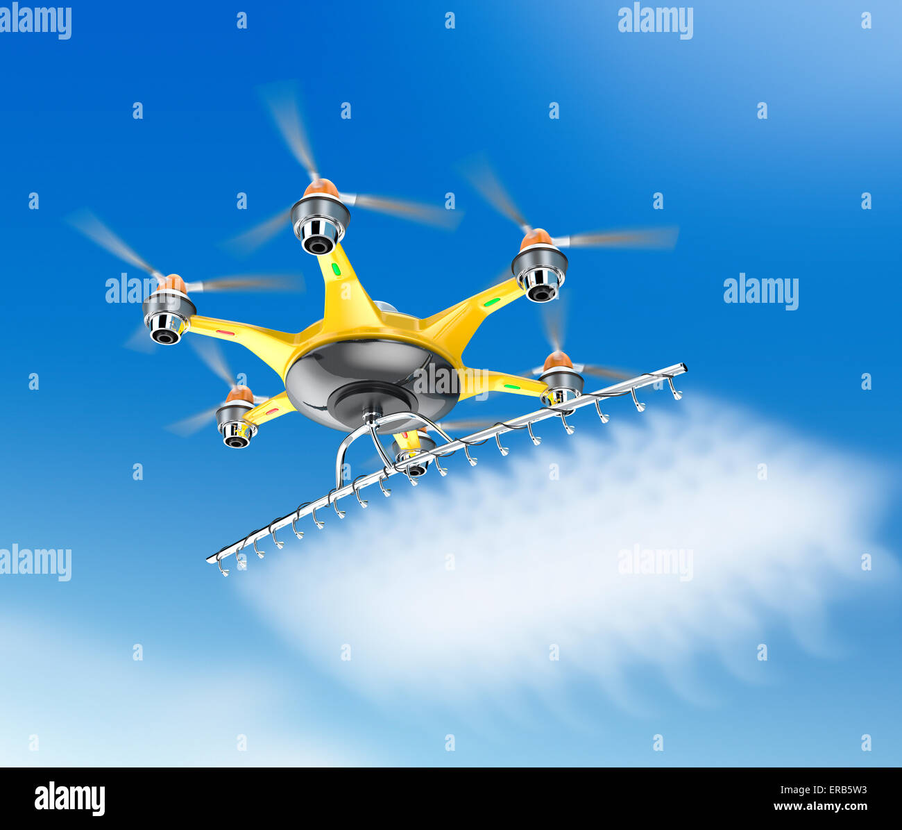 Hexacopter with crop sprayer flying in the sky - Stock Image