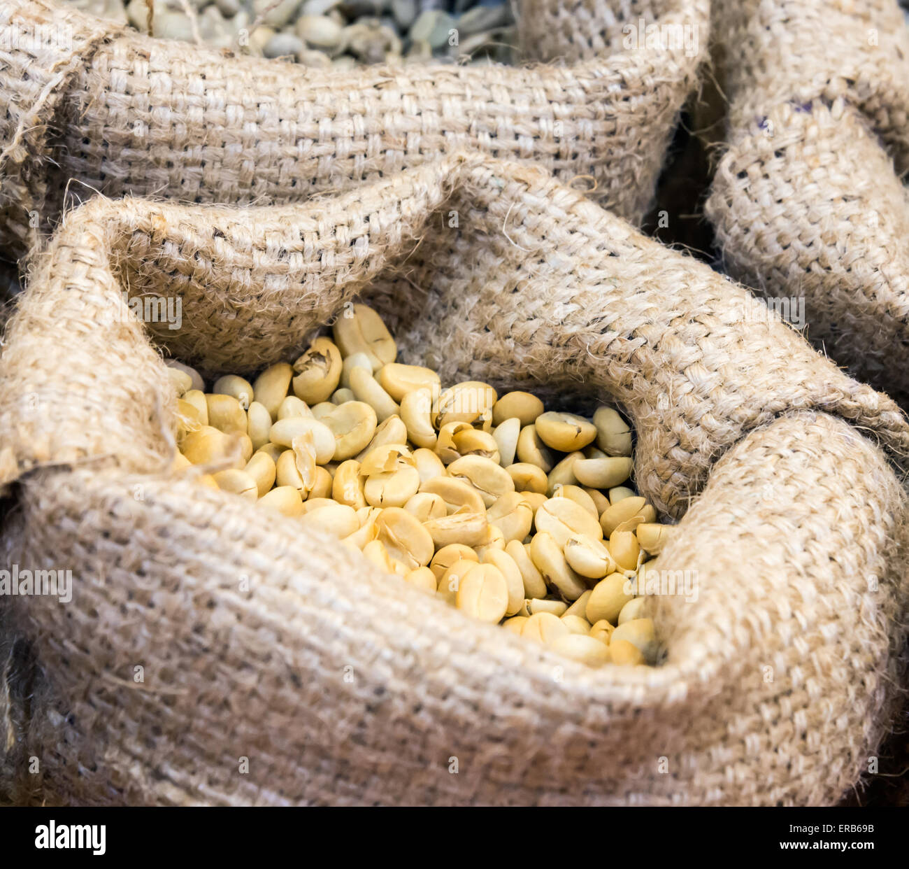 Coffee bean in the small bag of coffee shop. - Stock Image