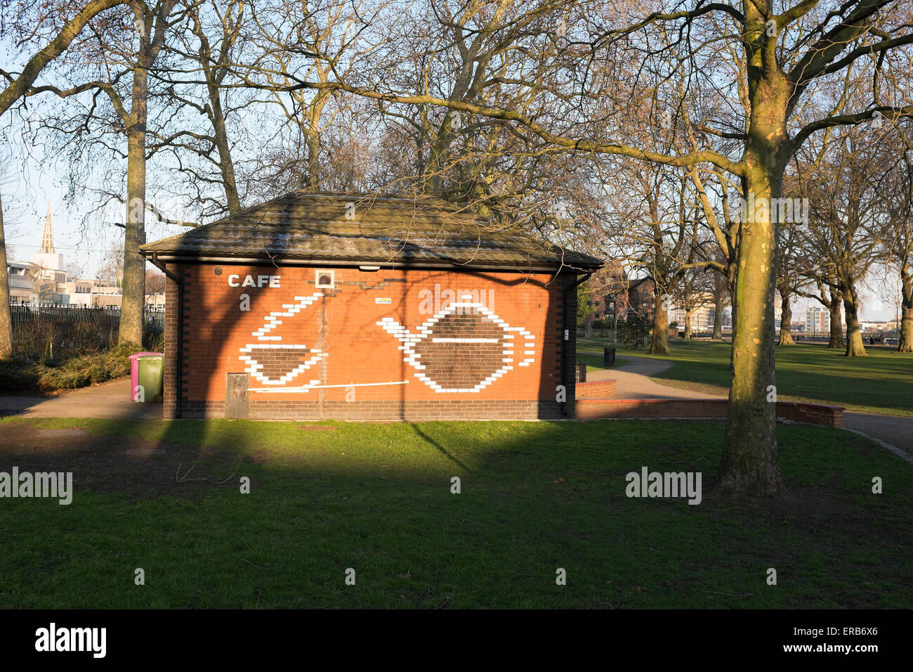Old red brick building of the Island Gardens Cafe on the Isle of Dogs, London, UK. - Stock Image