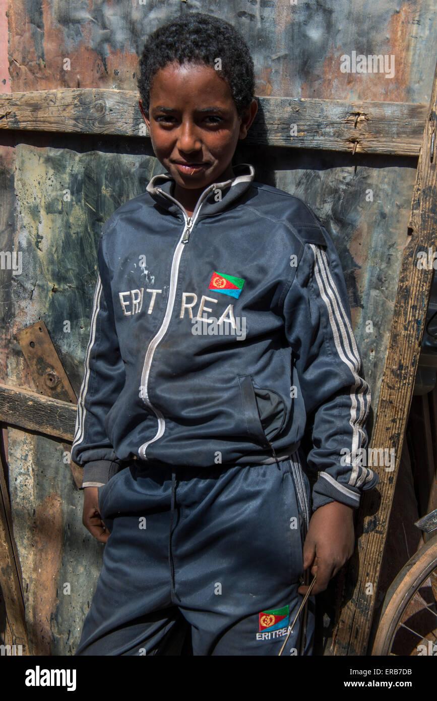 Boy With Eritrea Tracksuit, Medebar Market, Asmara Stock Photo