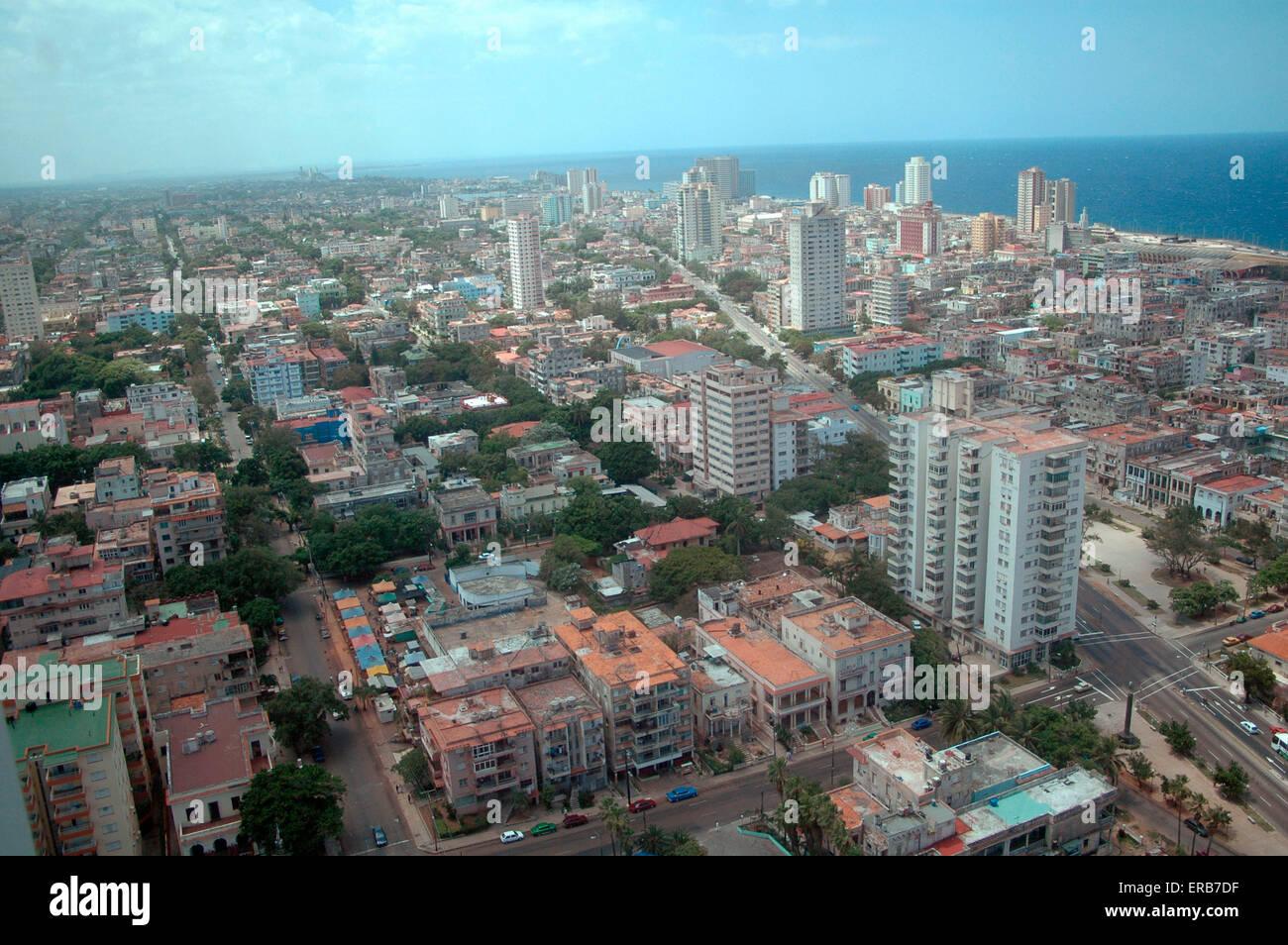 Luftbild: Vedado, Havanna, Kuba. - Stock Image