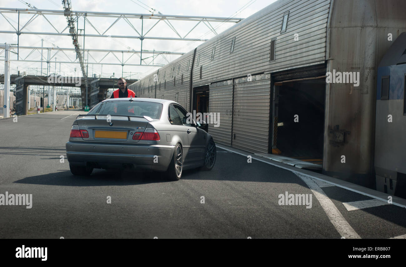 A Car Boarding A Eurotunnel Train At The Calais Terminal Of The