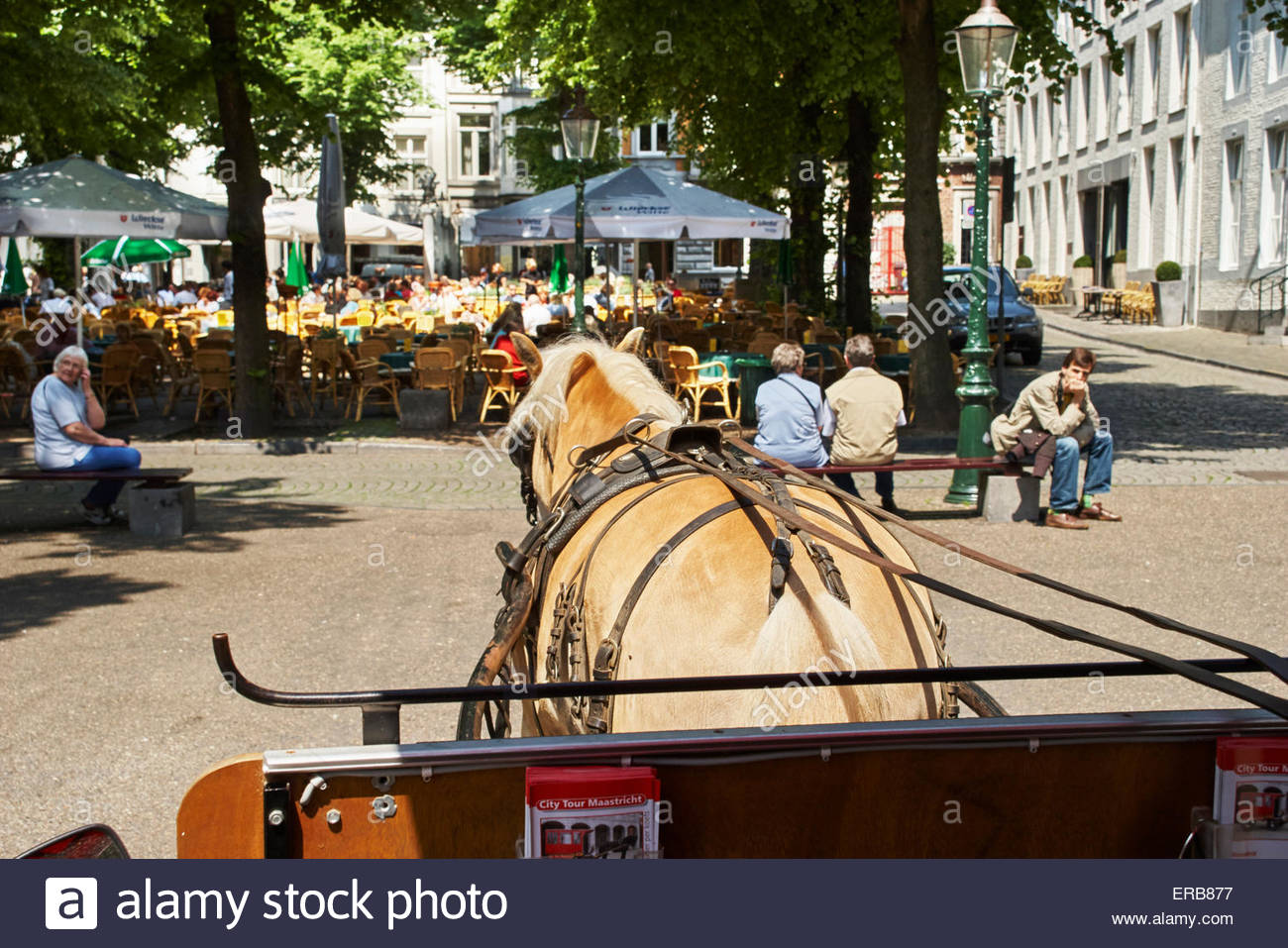 city tours of maastricht in the netherlands by an open air cafe bar - Stock Image