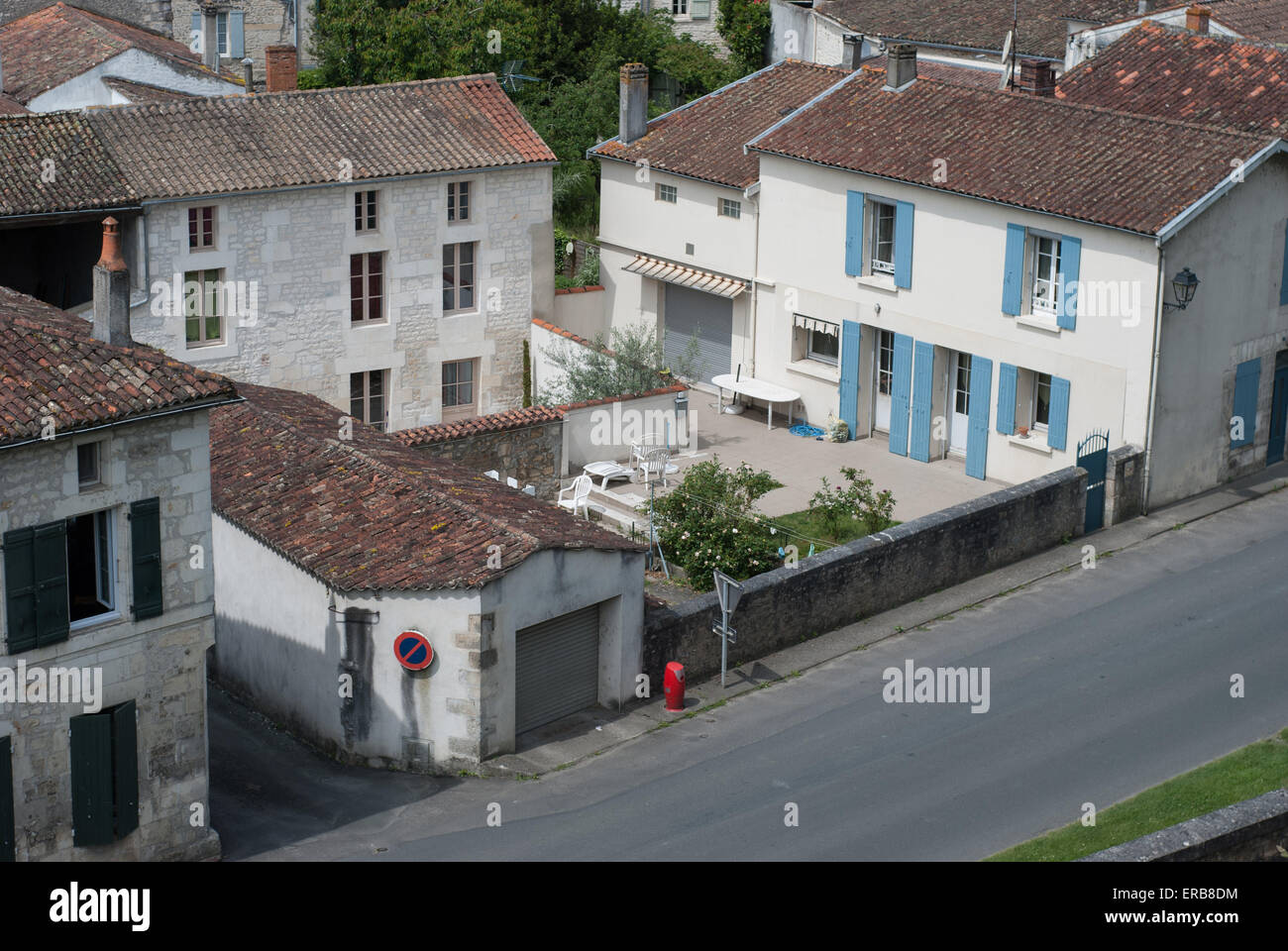 Aerial View Of Houses In Taillebourg, Charente Maritime, France   Stock  Image