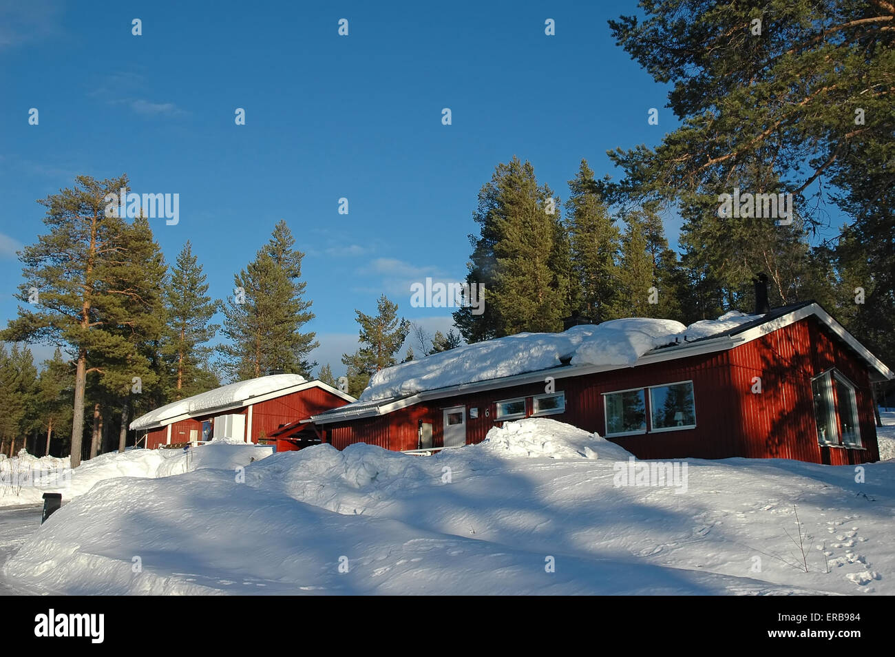 snowdrift on the roof at winter - Stock Image