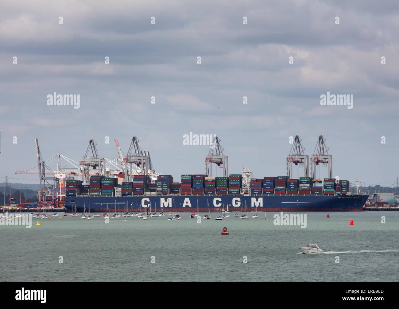 Container ship CMA CGM Amerigo Vespucci pictured in Southampton Docks Container Port - Stock Image
