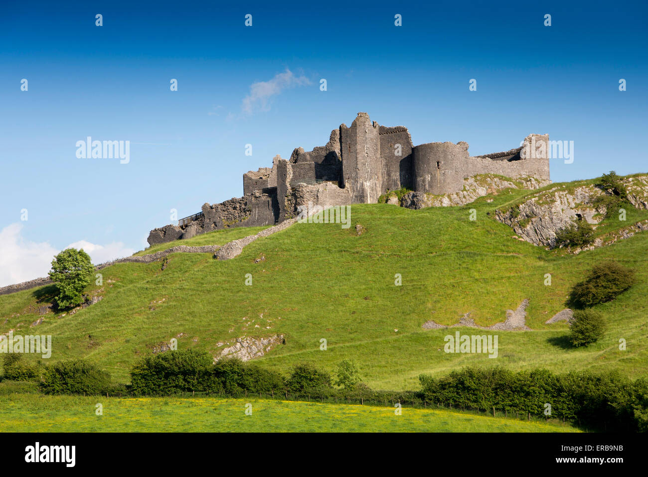 Wales, Carmarthenshire, Carmarthenshire, Trapp, Carreg Cennen, privately owned hilltop Castle - Stock Image