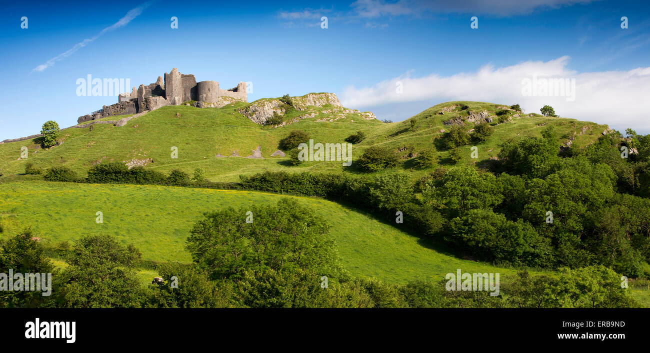 Wales, Carmarthenshire, Trapp, Carreg Cennen, privately owned Castle, panoramic - Stock Image
