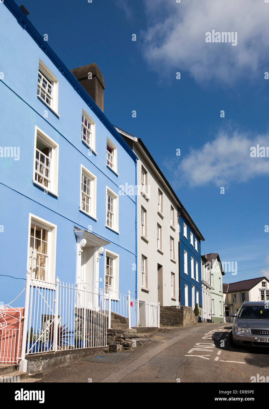Wales, Carmarthenshire, Llandeilo, Bank Street three storey houses next to former Bank of Black Ox - Stock Image