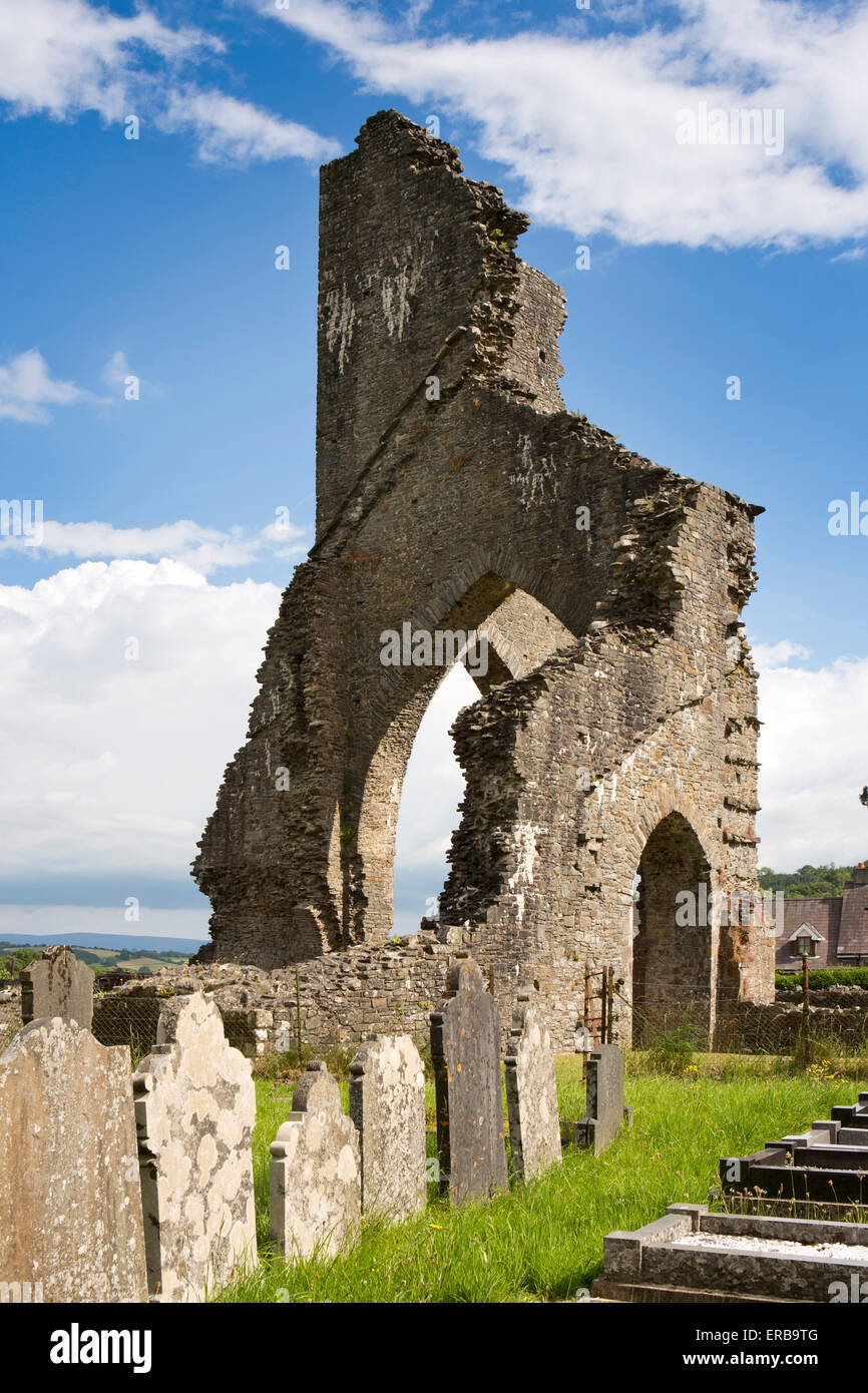Wales, Carmarthenshire, Talley, ruins of White Canons Premonstratensian Abbey beside St Michael's Churchyard - Stock Image