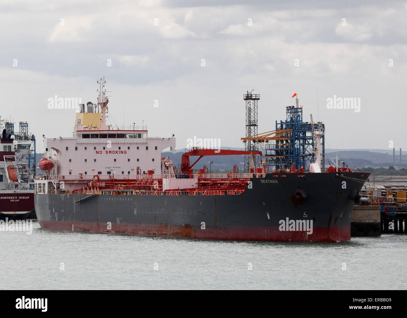 Sextans oil chemical tanker ship pictured at Fawley Refinery near Southampton - Stock Image