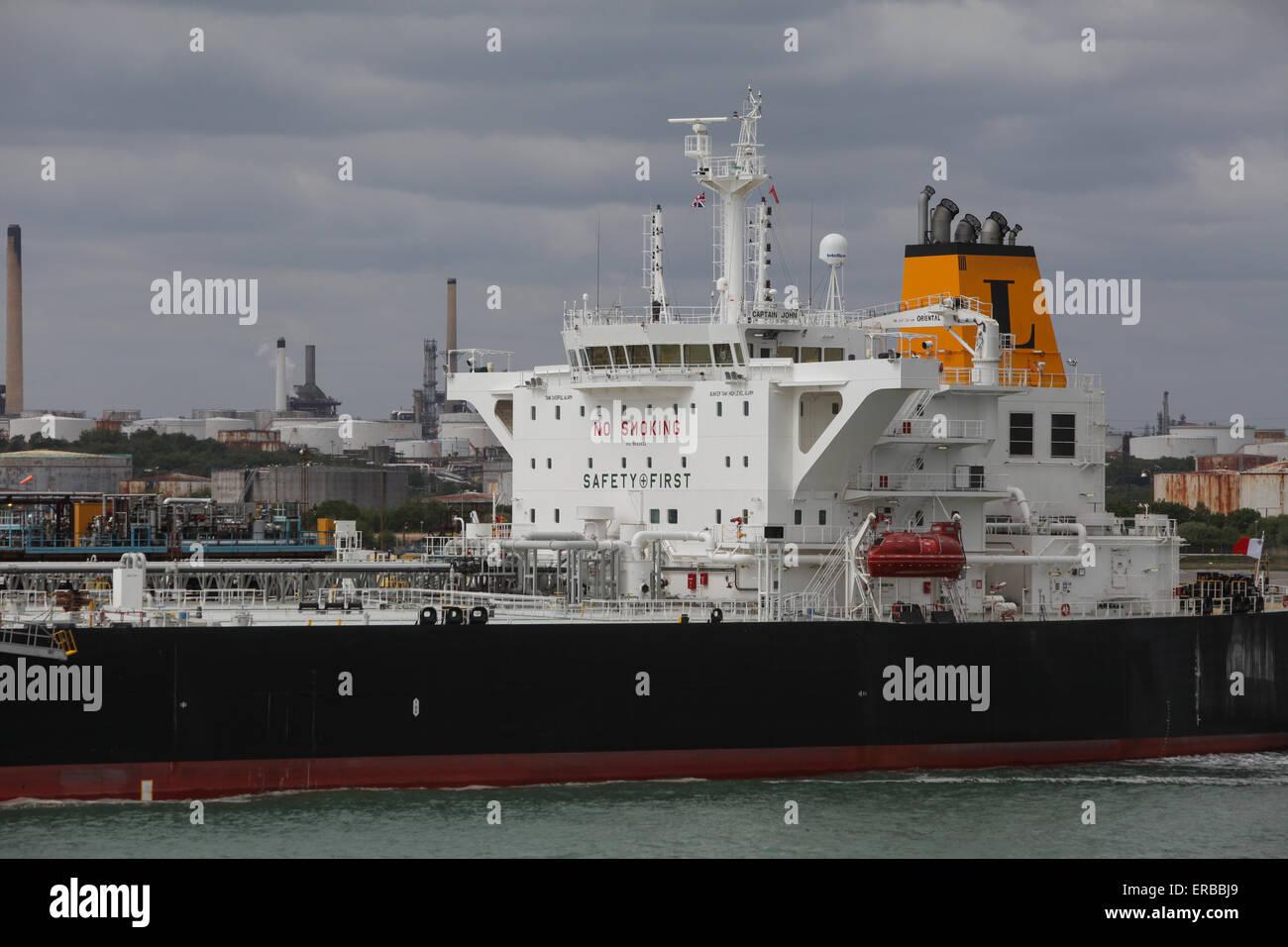 Captain John Oil tanker ship pictured at Fawley Refinery near Southampton UK - Stock Image