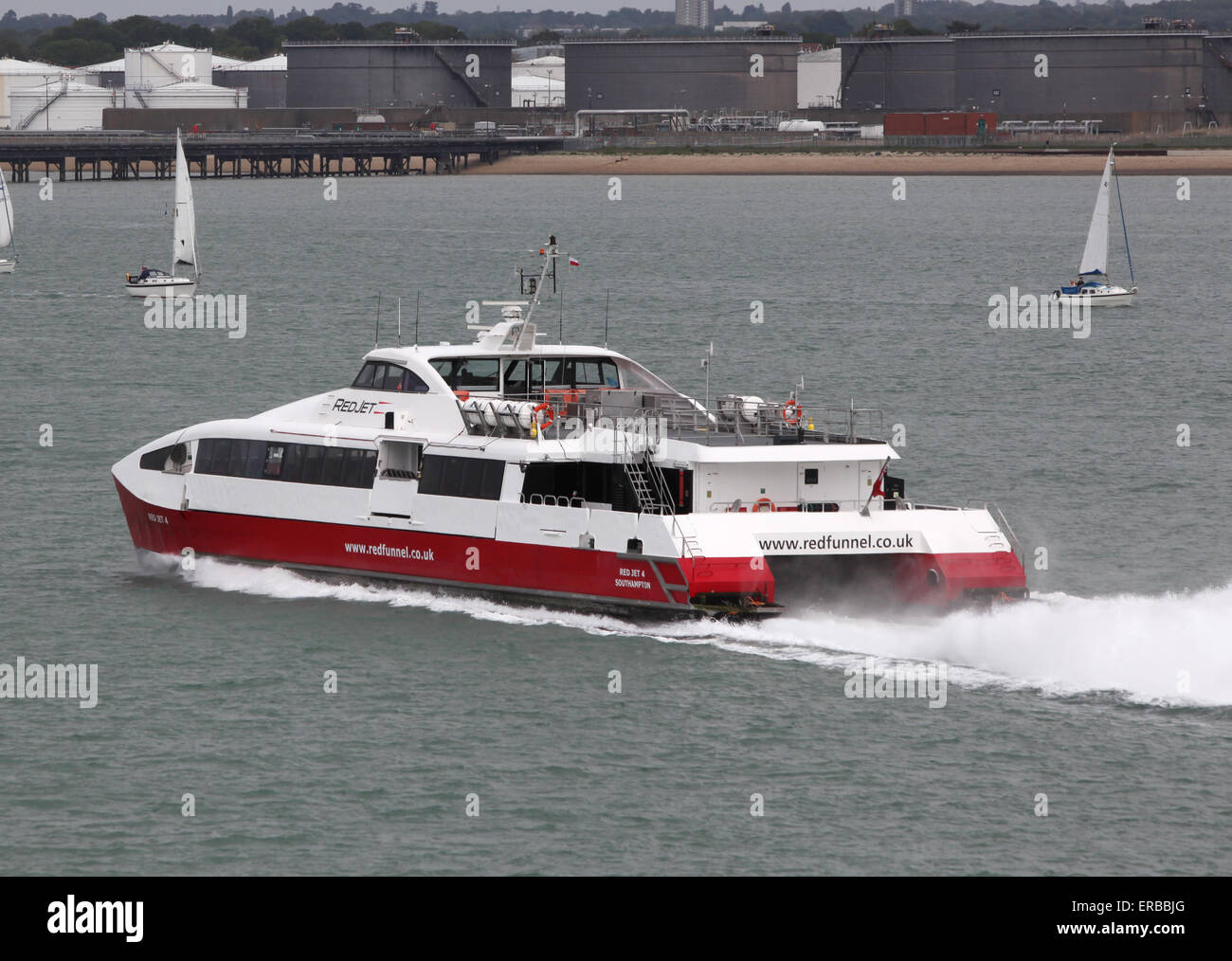 Red Funnel Ferries red jet hi-speed ferry - Stock Image