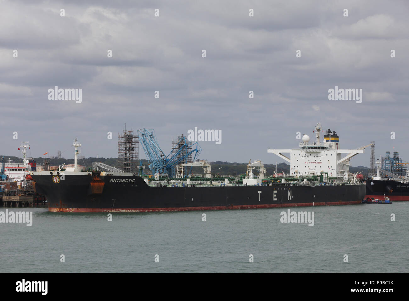 Antarctic Oil tanker ship pictured at Fawley Refinery near Southampton UK - Stock Image