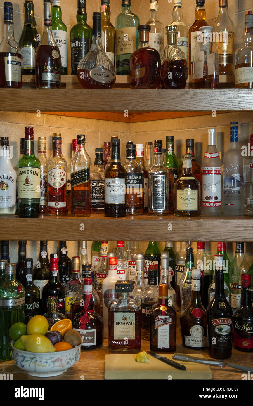 A bar of spirits and strong drinks - Stock Image