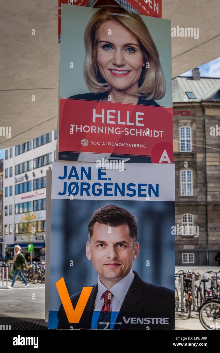 Election poster promoting Helle Thorning-Schmidt and Jan E. Jørgensen for the general election June 2015, Denmark - Stock Image