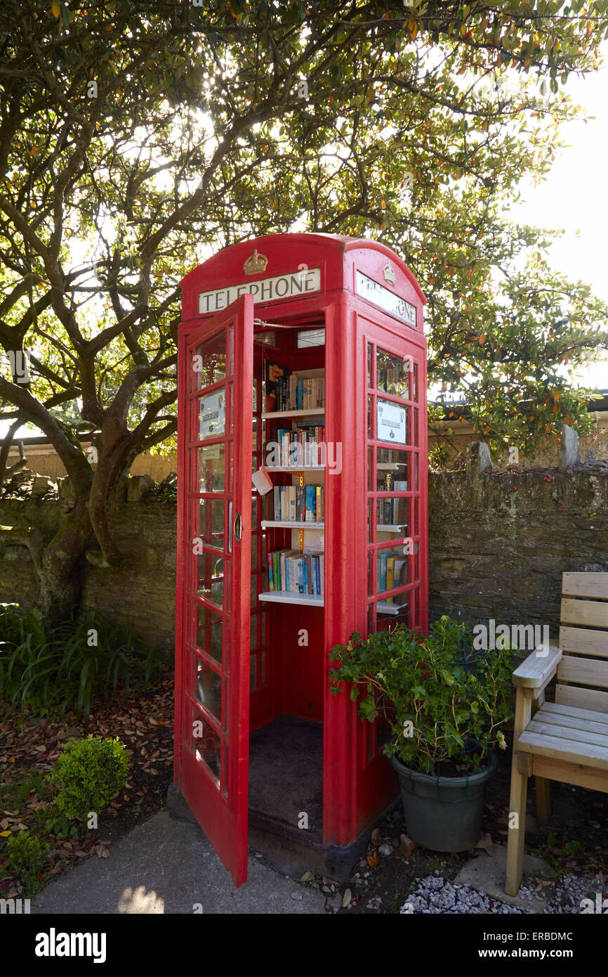The Thurlestone book exchange, located in an old telephone box in the village od Thurlestone, Devon. Stock Photo
