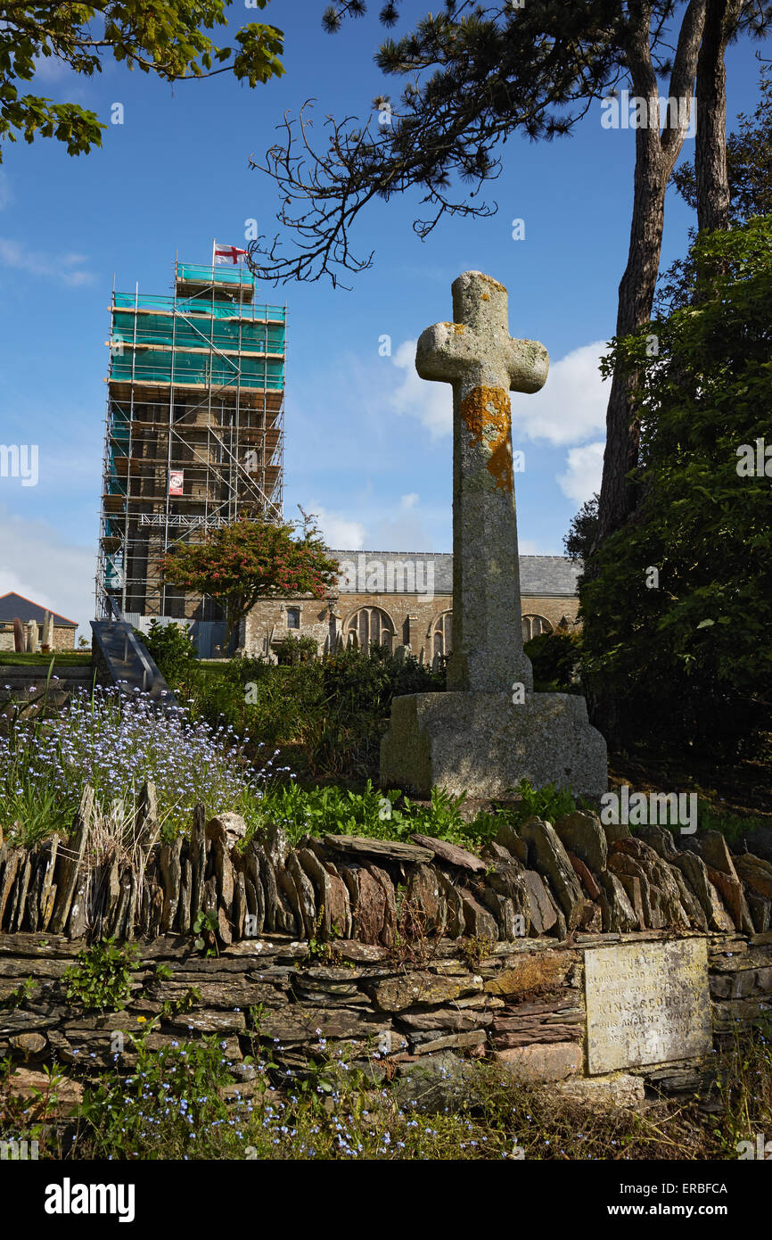 Thurlestone Church. The Church of All Saints, during restoration. - Stock Image