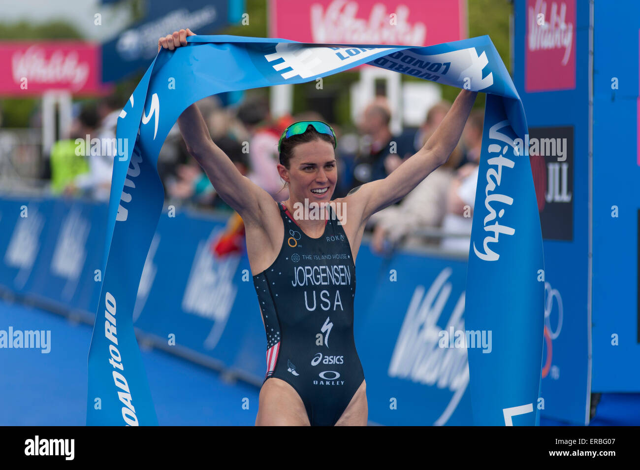Hyde Park, London, UK. 31st May, 2015. Part of the ITU World Triathlon Series, the Elite Women's race includes a - Stock Image