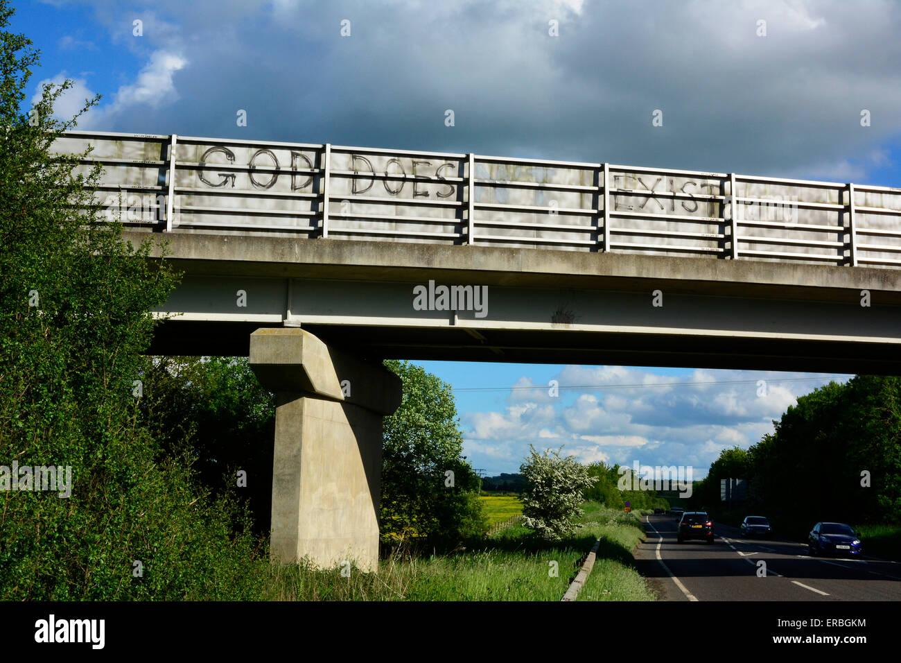 graffiti on a bridge near market harborough leicestershire which