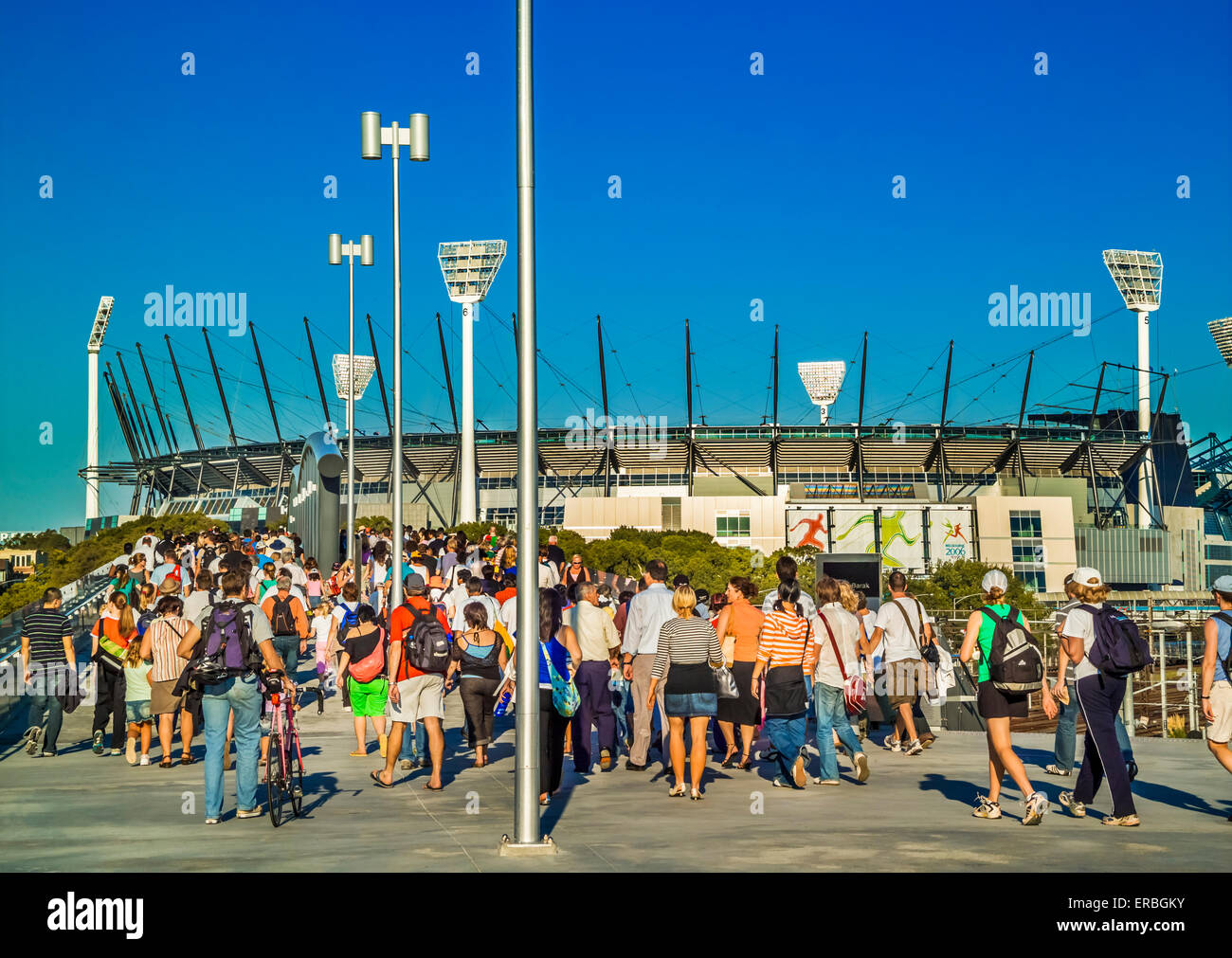 Large sporting crowds approach entrance to the Melbourne Cricket Ground, MCG known as the G, Melbourne Australia - Stock Image
